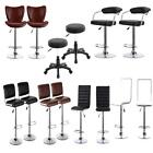 Chrome Base Set Of 2 Adjustable Height Swivel  Bar Stools Leather Chair D3K1