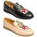 Ladies Faux Leather Floral Embroidery Stitched Gold Chain Smart Flat Loafer Shoe