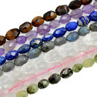 "Natural Faceted Gemstones Oval Nugget Freeform Spacer Loose Beads 8"" 10mm-15mm"