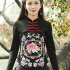 Women's Chinese Style Casual Embroidered Long Sleeve Cotton Tops T-Shirts Blouse