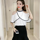 Women Black White  Chiffon Blouse Shirt Halter Off Shoulder Lace Ruffles Tops