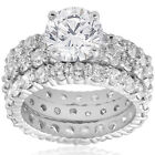 7ct Diamond Engagement Eternity Wedding Ring Set 14k White Gold Enhanced