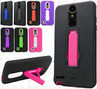 For LG Harmony M257 IMPACT Hard Rubber Case Phone Cover Kickstand + Screen Guard