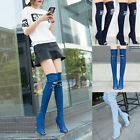 Womens Ladies Distressed Denim Over Knee Boots Stiletto High Heel Peep Toe Shoes