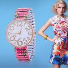 fashion women watches for Geneva stretch band flower dial floral printed pink