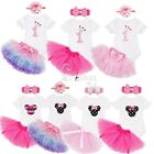 Baby Girls Kids Romper Jumpsuit Tops Tulle Skirt Bloomer/Bow Headband Outfit Set