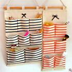 Striped Wall Hanging Storage Bag Linen Bathroom Makeup Organiser Household NEW S