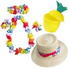 HAWAIIAN PARTY SET C - 4pc FLOWER LEI GARLAND STRAW SUN HAT & PINEAPPLE CUP LOT