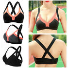 Running Gym Sport Bra Womens Front Zip Strecth Yoga Fitness Tops Tank Workout