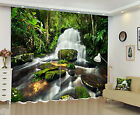 3D Blockout 2 Panel Set Window Curtain-Jungle Flow Waterfall Photo Fabric Drapes