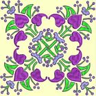 Anemone Quilt Squares 3- DESIGN 9- Anemone Machine Embroidery Singles In 4 Sizes