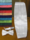 Cummerbund and Bow Tie Satin (Rental Quality) washable Many Colors Red, Black