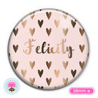 Personalised HEART Silver/Gold/Rose Gold Foil POCKET MIRROR 58mm Wedding Favour