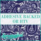 Navy Blue & White Paisley Pattern Adhesive Craft Vinyl or HTV for Crafts Shirts