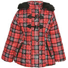 Urban Republic Little Girls Red Plaid Quilted Toggle Hooded Puffer Coat 4-6X