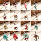 Women Natural Real Dried Rose Flower Glass Pendant Necklace Sweater Chain Gift