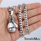 Black/Gold/Silver Boxing Glove 316L Stainless Steel Pendant Necklace Mens Chain