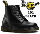 Dr Martens Unisex 101 Black Smooth Unblemished Leather 6 Eye Ankle Boots