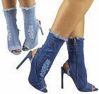 Ladies Womens High Stiletto Heel Ankle Cutout Mid Calf Peeptoe Denim Boots Shoes