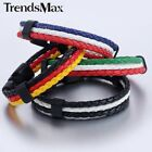 Flag Mens Womens Rope Braided Surfer Black Clasp Faux Leather Bracelet Wristband