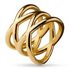 Stainless Steel Stylish Rose Gold Double X Ring Size 5-9