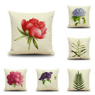 Flowers Print Cotton Linen Cushion Cover Throw Waist Pillow Case Sofa Home Decor