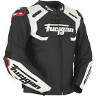 Furygan Akira Motorcycle Motorbike Leather Racing Track Jacket Black White Red