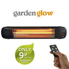 Garden Glow Patio Heater Outdoor Electric Fire Wall Mounted 2KW Quartz & Remote