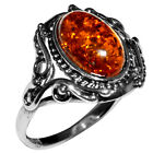 2.95g Authentic Baltic Amber 925 Sterling Silver Ring Jewelry N-A7217