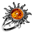 2.81g Authentic Baltic Amber 925 Sterling Silver Ring Jewelry N-A7374