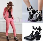 Chunky Women's horsehair Leather Ankle Boot Pull On Pointy Toe Buckle Mid Heel