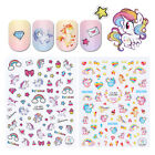 2x Unicorn Adhesive 3D Nail Stickers Colorful Rainbow Star Heart Manicure Decals