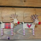 Gisela Graham Patchwork Wooden Reindeer Bell Hanging Christmas Tree Decoration