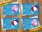 Swimming Pool Birthday Party invitations / Thank You Notes Cards Free Envelopes