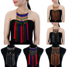Fashion Gold  Chain Resin Rope Tassels Fringe Collar Pendant Bib Long Necklace