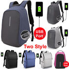 New Unisex Anti-Theft Backpack Laptop USB Port Charger Travel Oxford School Bags