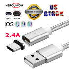 US Magnetic Micro USB IOS Type C Charger Charging Cable For Various Phones Lot