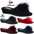 Women Ladies Dunlop Slippers Faux Suede Wedge Pom Pom Fur Wedge Peep Toe Shoes