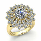 3/4ct Round Brilliant Cut Diamond Womens Flower Cluster Cocktail Ring 10K Gold