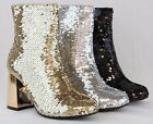 Women Sexy High Thick Heels Booties New Sequin Shiny Glitter Design Ankle Boots