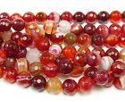 Striped Plum Red Agate Faceted Gemstone Beads~Guaranteed