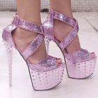 Sexy Gorgeous Colorful Glitter Studded Spike Ankle Wedding Shoes High Heels