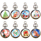 New Christmas Pattern Tree Bell Snowman Pocket Watches Chain Jewelry Charm Gift