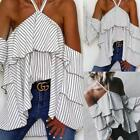 New Fashion Women Lace Up Halter Striped Off the Shoulder Ruffle Sexy EA