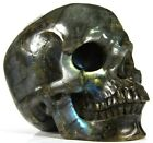"HUGE 5.0"" LABRADORITE Carved Crystal Skull, Super Realistic #737"