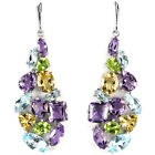 REAL MULTI COLOR AMETHYST TOPAZ PERIODT & CITRINE STERLING 925 SILVER EARRING