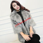 fshion womens faux fox furs collar coat korea parka thick long slim outwear new