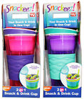 SNACKEEZ 2-in-1 SNACK+DRINK CUP Flip-Top Lid NON-SLIP GRIP w/Straw AS SEEN ON TV