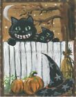 Smiling Black Kitty Cats Halloween Night Stars Pumpkins Trick or Treat Art