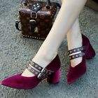 Hot Women's Suede Pointy Toe Block Heels Buckle Mary Janes Shoes Slip on Casual